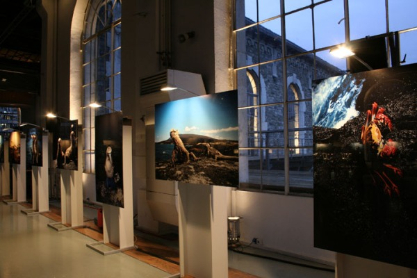 Muller's photographs on display at the IWC's gala event in Geneva.