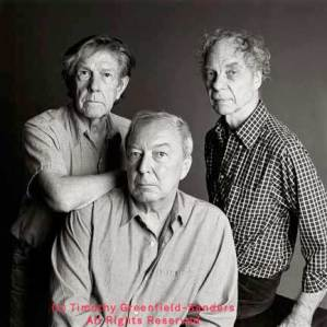 From left: John Cage, Jasper Johns, and Merce Cunningham, July 3, 1989. Photograph by Timothy Greenfield-Sanders.