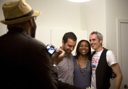 From left: Kwaku Alston sets up a photo of photographer Matthias Clamer and Michael Hathaway of Showtime.