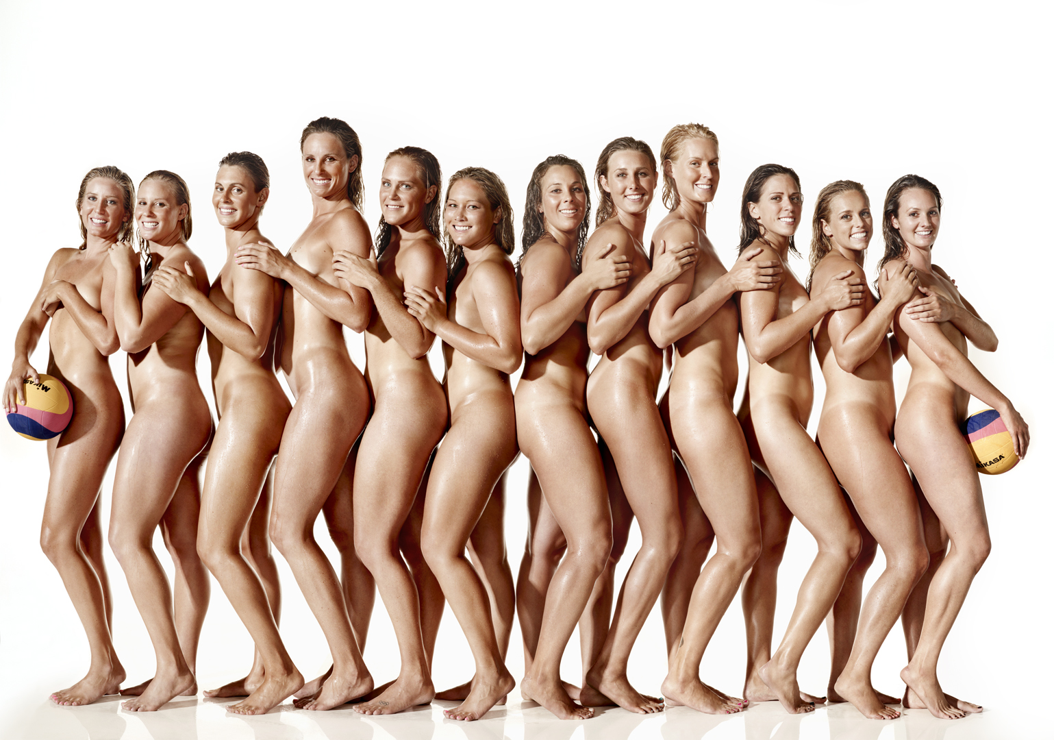 The USA Women's Water Polo team. Photo by Art Streiber for ESPN The