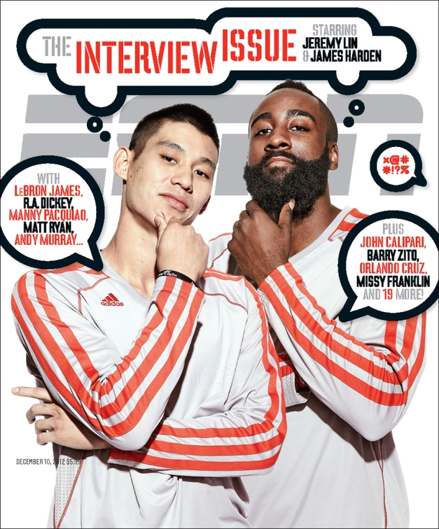 Jeremy Lin and James Harden of the Houston Rockets. Photo by Art Streiber for ESPN The Magazine, December 10, 2012, issue.