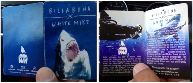 The tag on each item in the collection features shark photos by Michael as well as photos of Michael himself.