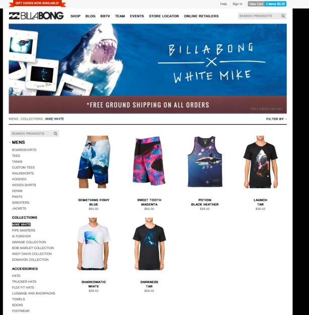 The Billabong x White Mike collection at billabong.com.