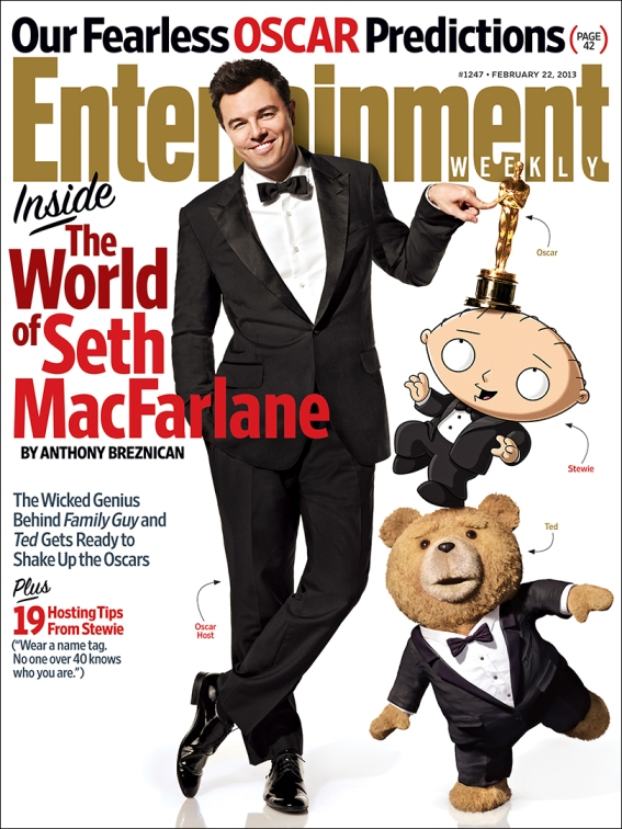 Seth McFarlane. Photo by Art Streiber for Entertainment Weekly, Feburary 13, 2013, issue.
