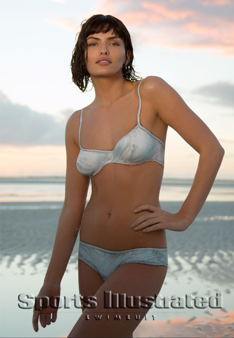 Alyssa Miller. Swimsuit inspired by Indah from the original by Rose Marie Reid. Photo by Walter Iooss for Sports Illustrated.