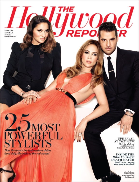 Jennifer Lopez with stylists Mariel Haenn and Rob Zangardi. Photo by Art Streiber for The Hollywood Reporter,
