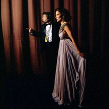 Backstage at the 2007 Oscars.