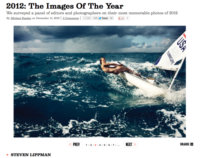 A screenshot of Steven Lippman's photo of Anna Tunnicliffe at the American Photo website. Click to see all of the magazine's picks for 2012 Images of the Year.