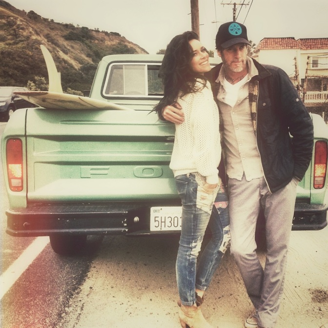 Steven Lippman and Abigail Spencer on set.