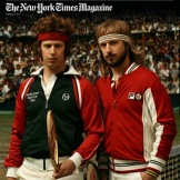 """Photo by Walter Iooss. From """"Walter Iooss shoots Andy Samberg as McEnroe, Agassi, and other tennis pros for NYT Magazine."""""""