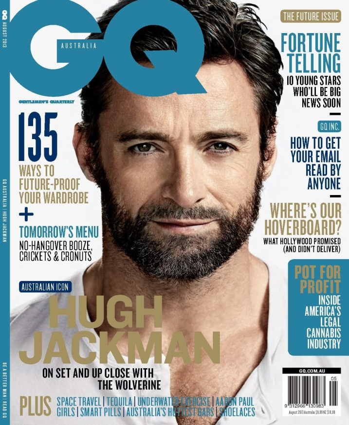 Hugh Jackman. Photo by Nino Muñoz for GQ Australia, August 2013 issue.