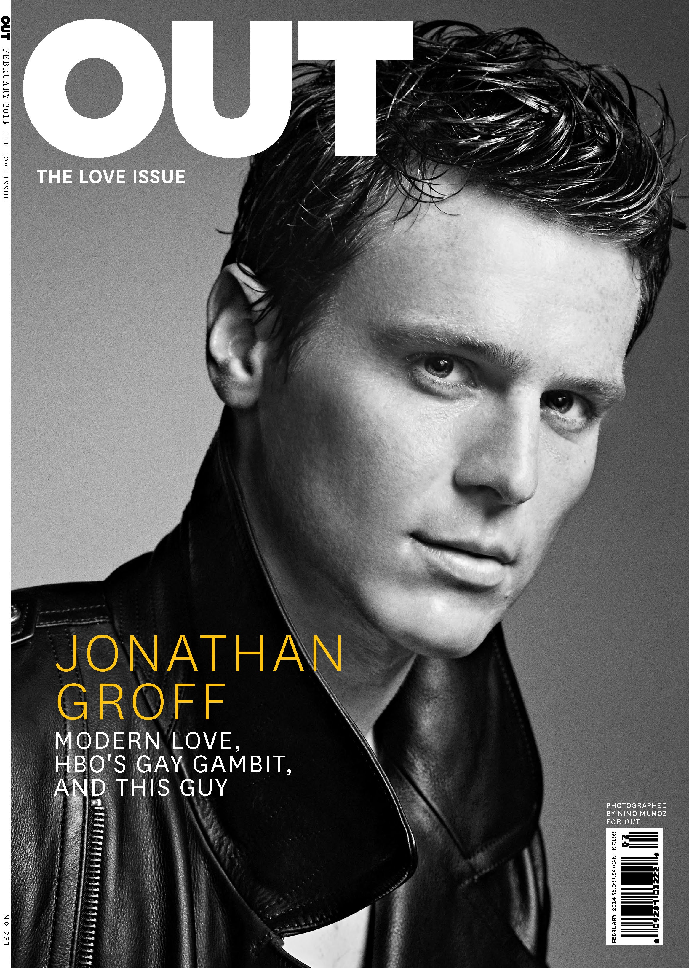 Jonathan Groff  Photo by Nino Mu  241 oz for Out  February 2014 issue Jonathan Groff Shirtless