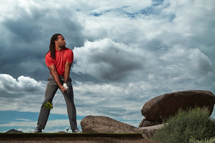 Larry Fitzgerald photographed by Walter Iooss Jr. at Whisper Rock Golf Course in Scottsdale, AZ on September 22, 2015
