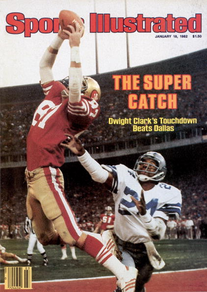 January 18, 1982 Sports Illustrated Cover: Football: NFC Playoffs: San Francisco 49ers Dwight Clark (87) in action, making catch and scoring game winning touchdown vs Dallas Cowboys Everson Walls (24). San Francisco, CA 1/10/1982 CREDIT: Walter Iooss Jr. (Photo by Walter Iooss Jr. /Sports Illustrated/Getty Images) (Set Number: X26442 TK1 )