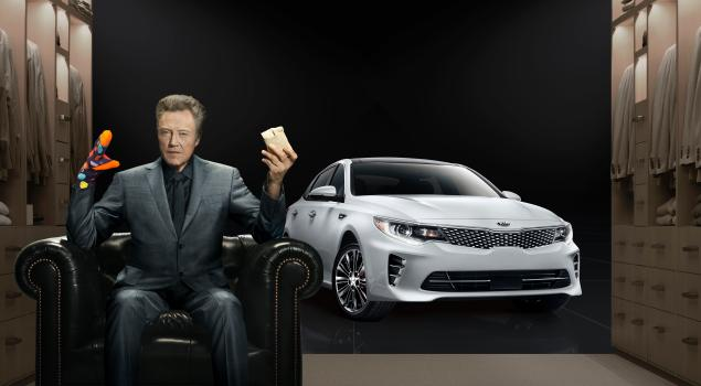 "Michael Muller photographed Christopher Walken for the print component of Kia's big Super Bowl campaign. Read about the ads here: ""Christopher Walken Shines in Kia Super Bowl Ad That Likens the Optima to a Pair of Socks,"" adweek.com."