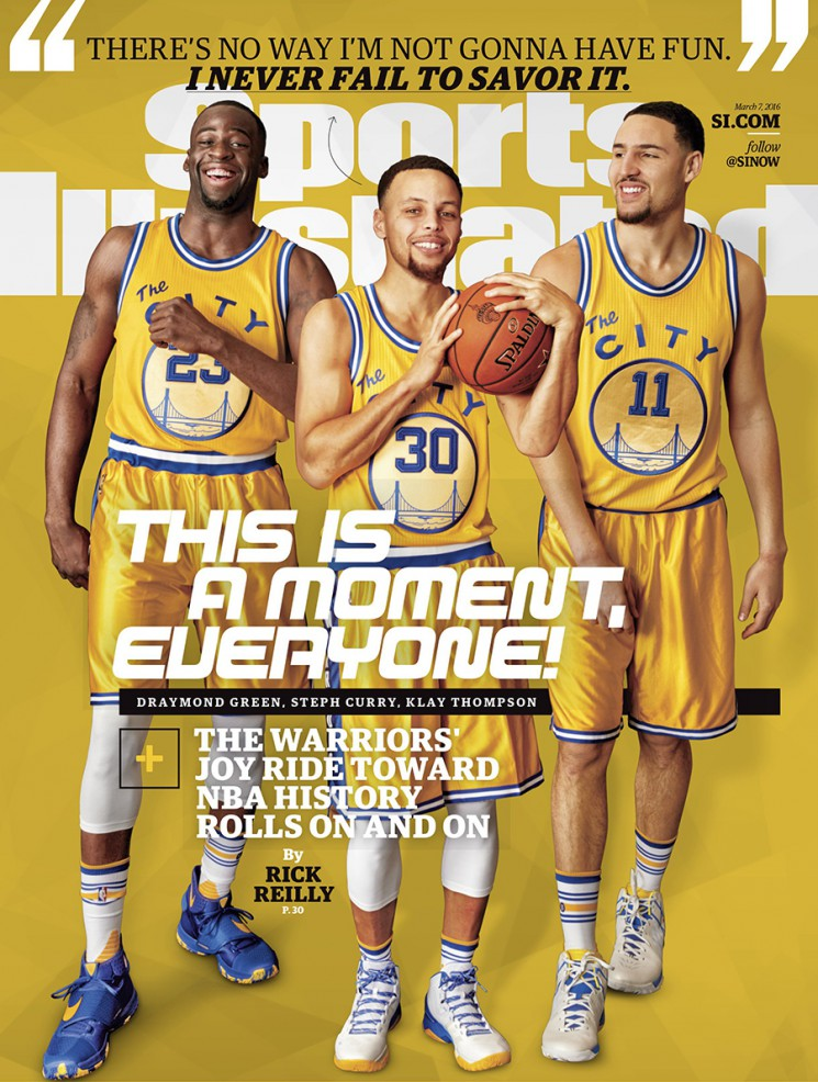March 7, 2016 Sports Illustrated Cover:  Basketball: Portrait of Golden State Warriors (L-R) forward Draymond Green (23), point guard Stephen Curry (30), and shooting guard Klay Thompson (11) during photo shoot at Sheraton Centre Toronto Hotel.  Toronto, Canada 2/11/2016 CREDIT: Walter Iooss Jr. (Photo by Walter Iooss Jr. /Sports Illustrated/Getty Images) (Set Number: SI-207 TK1 )