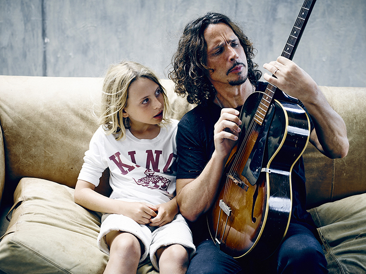 Chris Cornell and his son in New York City.