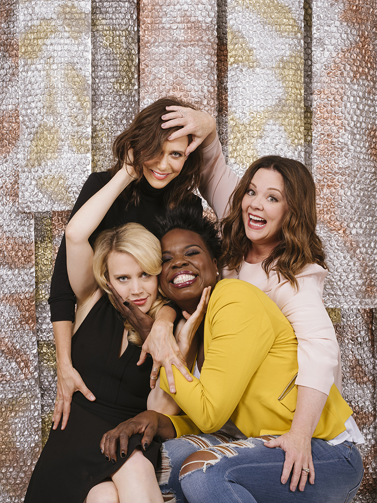 "Actresses Kristen Wiig (from top left, clockwise), Melissa McCarthy, Leslie Jones, and Kate McKinnon star in the remake of ""Ghostbusters."" They pose for a portrait at the Hollywood Roosevelt Hotel in Los Angeles, California June 7, 2016.  Photo by Brinson+Banks"