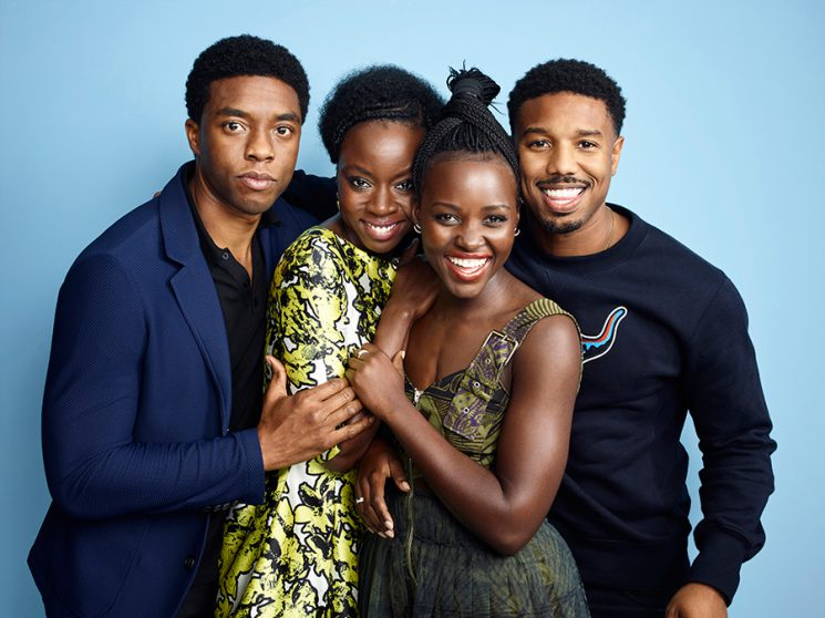 "The stars of ""Black Panther"" (from left to right): Chadwick Boseman, Danai Gurira, Lupita Nyong'o, and Michael B. Jordan. Photo by Matthias Clamer for Entertainment Weekly."