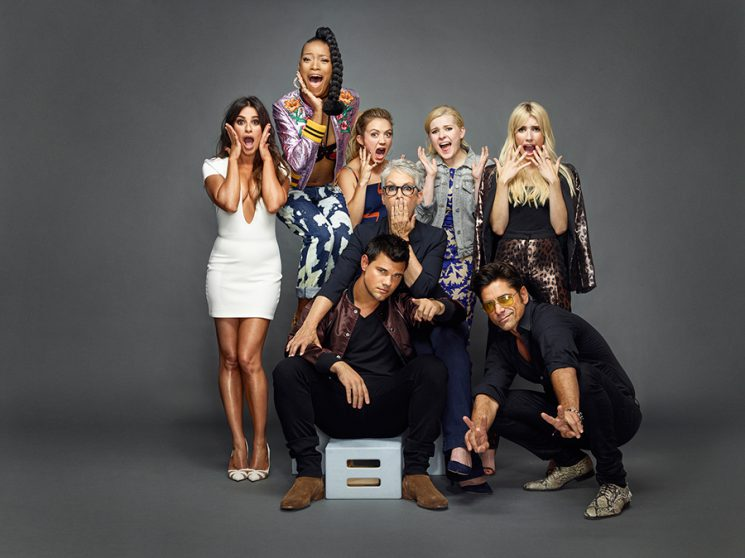 SCREAM QUEENS Clockwise from bottom left: LEA MICHELE, KEKE PALMER, BILLIE LOURD, ABIGAIL BRESLIN, EMMA ROBERTS, JOHN STAMOS and TAYLOR LAUTNER Comic-Con 2016 Day 2 - July 22, 2016 – San Diego, CA Photograph by Matthias Clamer