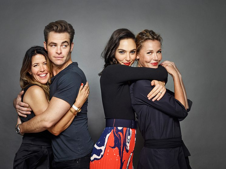 """Wonder Woman"" director Patty Jenkins with the movie's stars, Chris Pine, Gal Gadot, and Connie Neilsen. Photo by Matthias Clamer for Entertainment Weekly."