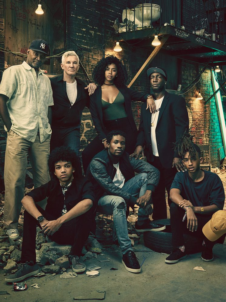 """Clockwise from top left: Nelson George, Baz Luhrmann, Herizen F. Guardiola, Grandmaster Flash, Jaden Smith, Shamiek Moore, and Justice Smith on the set of """"The Get Down"""" in New York. Photo by Miller Mobley for Billboard, August 20, 2016, issue."""