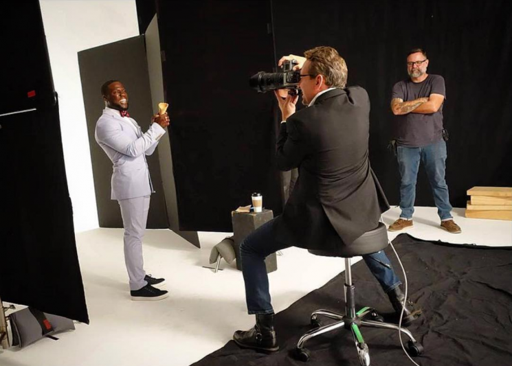 Double Scoop: Before the talented Zohar Lazar @zoharlazar filled that cone and brought this week's EW cover to life…this is what it looked like on set with @kevinhart4real. We had to light Kevin fairly bright and open in order to anticipate the lighting match with Zohar's illustration.