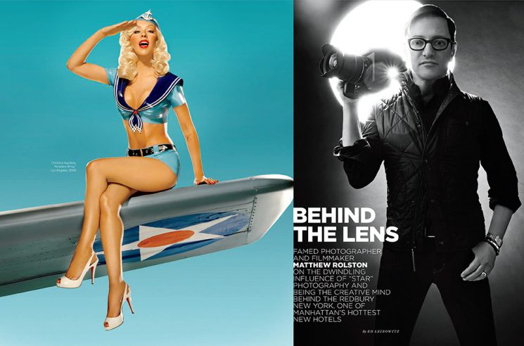 Left: Matthew Rolston's 2006 portrait of Christina Aguilera. Right: Rolston, as photographed by Davis Factor.
