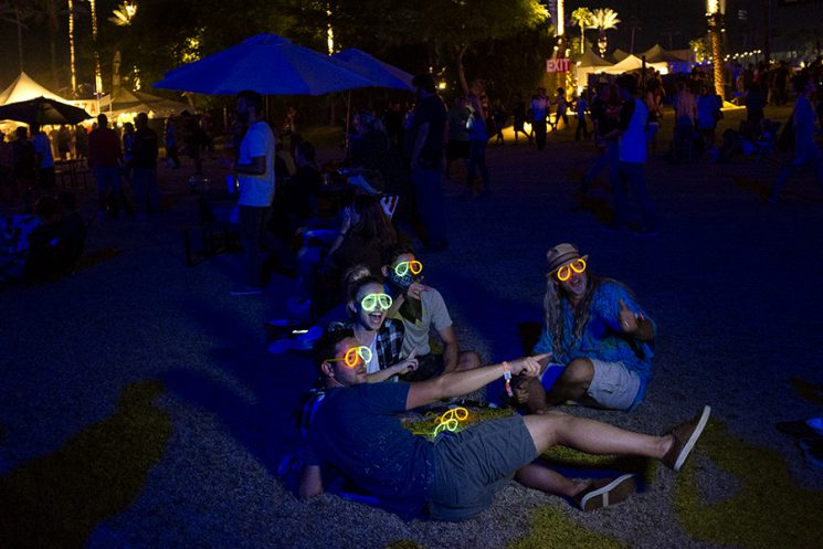 INDIO, CA - Oct. 9: Music fans on the lawn while Roger Waters performs on the third day of Desert Trip Music Festival, which features bands Bob Dylan, The Rolling Stones, Paul McCartney, Neil Young, The Who and Roger Waters, in Indio, California October 8, 2016. Photo by Brinson+Banks Model Release: NO