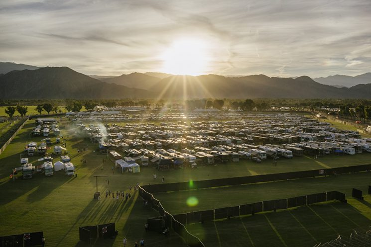There are multiple camping areas for music fans at Desert Trip Music Festival--teepees with cots, tents (including VIP Safari tents for $10,000 for the three nights!), as well as a car camping lot and this RV camping lot. Desert Trip Music Festival, which features bands Bob Dylan, The Rolling Stones, Paul McCartney, Neil Young, The Who and Roger Waters, in Indio, California October 9, 2016. Photo by Brinson+Banks