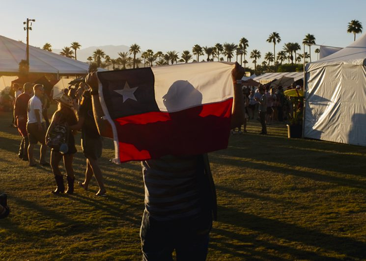 INDIO, CA - Oct. 8: Music fans wander the grounds on the second day of Desert Trip Music Festival, which features bands Bob Dylan, The Rolling Stones, Paul McCartney, Neil Young, The Who and Roger Waters, in Indio, California October 8, 2016. Photo by Brinson+Banks Model Release: NO