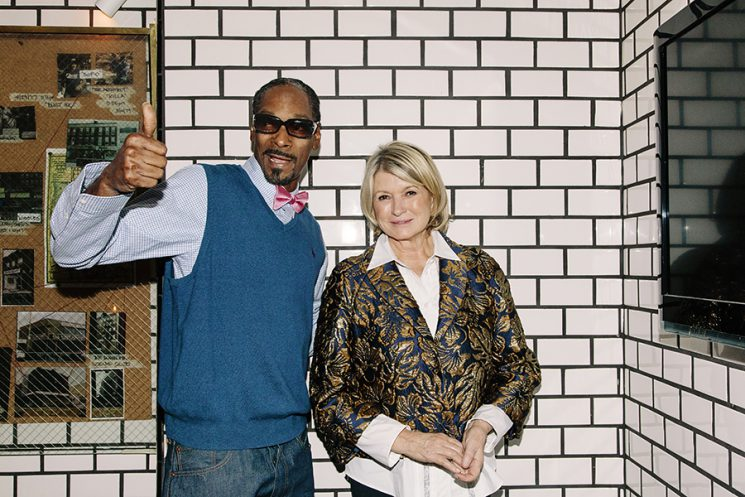 "Snoop Dogg and Martha Stewart pose for a portrait in the corner of the kitchen of The Nice Guy, a restaurant in Los Angeles, California, October 25, 2016. The pair have a new show on VH1 called ""Martha & Snoop's Potluck Dinner Party."" Photo by Kendrick Brinson"