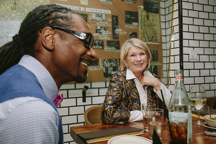 "Snoop Dogg and Martha Stewart are interviewed over dinner at a private table in the kitchen of The Nice Guy in Los Angeles, California October 25, 2016. The pair have a new show on VH1 called ""Martha & Snoop's Potluck Dinner Party."" Photo by Kendrick Brinson"