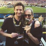 Walter Iooss with his son Christian Iooss at Super Bowl 50 in Palo Alto, California.