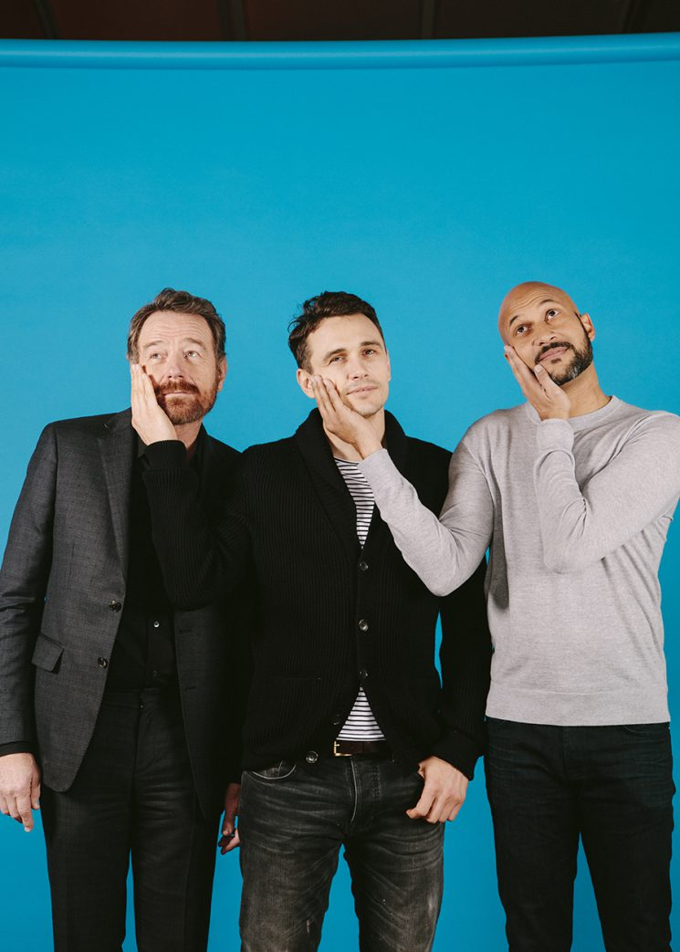 "Actors Bryan Cranston, Keegan-Michael Key and James Franco star in the film ""Why Him."" They pose for a portrait at the Four Seasons Hotel in Los Angeles, California, December 17, 2016. Photo: Brinson+Banks"
